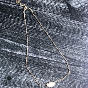 Kendra Scott Yellow Gold Necklace with white stone